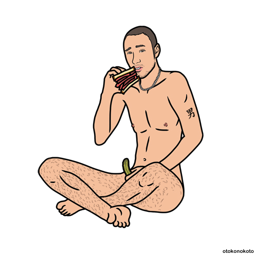 Man Eating Pastrami Sandwich